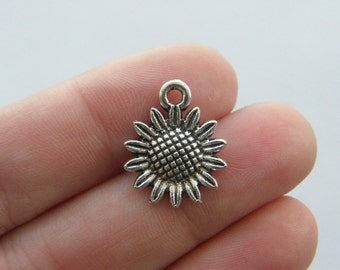 10 Sunflower charms antique silver tone F79