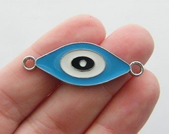 2 Blue evil eye connector charms antique silver tone I54