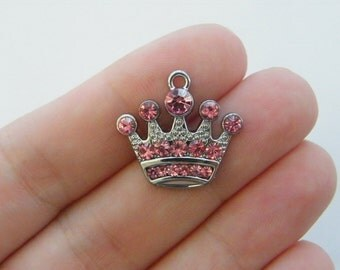 2 Pink rhinestone crown charms silver tone CA2