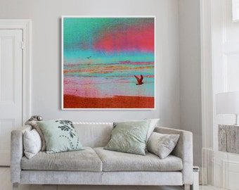 FIRST FLIGHT photo art print, nature photography, mixed media wall decor, seagulls in flight, teal turquoise red pink, coastal beach decor