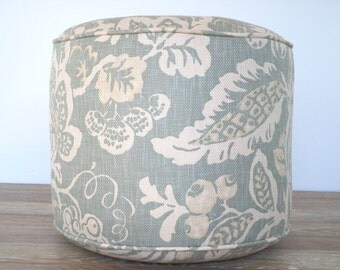 "Beige pouf ottoman 18"" textured fabric, round pouf, flower floor cushion, floral ottoman for bedroom decor in earth colors"