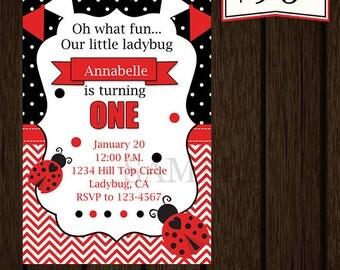 Ladybug Birthday Invitation/Ladybug Birthday/Ladybug Party/Ladybug Invitation