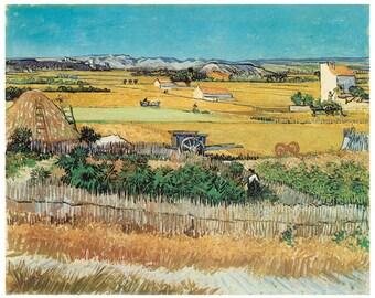 Hand-cut wooden jigsaw puzzle. HARVEST LANDSCAPE. Van Gogh. Impressionist. Impressionism. Wood, collectible. Bella Puzzles.