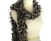 Spring Scarf, Ruffle Scarf, Valentines Day, Giraffe Design, Black Brown Scarf, Hand Knit Scarf, Knit Scarf,  Animal Print,  Designer, Women,