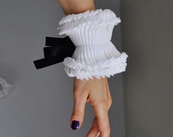 Couture hand made hand pleated detachable cuffs/White Ruffled cuffs with black satin ribbon/High cuff/Ruffled Fashion/Ruffle detail/ rusteam