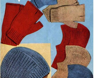 Vintage Knitting PATTERN - Helmets, Balaclavas, Mitts - 5 yrs to Adult sizes