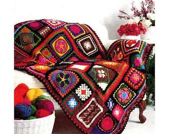 GRANNY SQUARES Crochet Pattern Afghan Beautiful Motifs Mosaic Blanket Throw