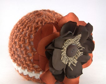 Toddler knit hat, orange, white, flower, floral, beanie