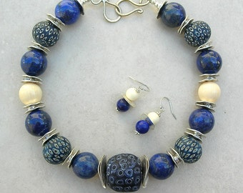 "ETHNOGRAPHIC Necklace, 5 ""Jatim"" Eye Beads, Lapis & Chinese Ox Bone Beads, Silk Road Statement Necklace Set by SandraDesigns"