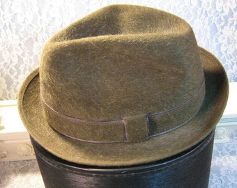 Vintage Stetson Long Hair Fedora Royal Deluxe Hat, 1960's Mid Century Mens Hat, Sage Green Never Worn Size 7 5/8, Longer Hair Style Material