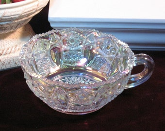 Vintage LE Smith White Iridescent Carnival Glass Heritage Handled Nappy Bowl, 1980's Home Decor, Elegant Depression Glass Style