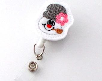 Snowman with Pipe - Retractable ID Felt Badge Holder - Christmas Badge Reel - Nurses Badge Holder - Pharmacy Badge - Teacher Badge - RN