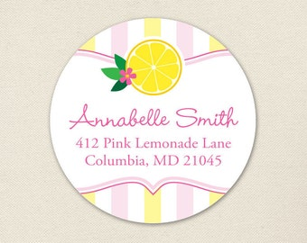 Pink Lemonade Address Labels - Sheet of 24