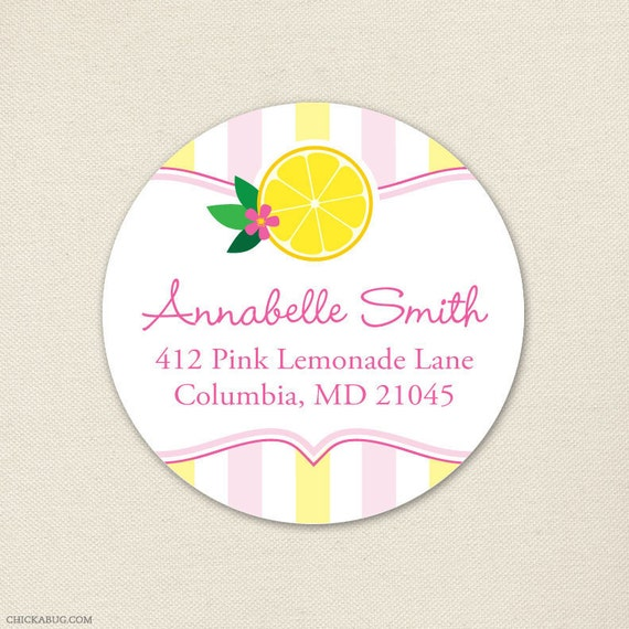 Pink Lemonade Party - Personalized address labels - Sheet of 24