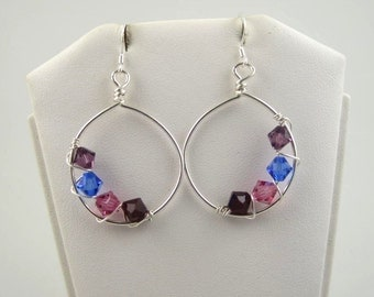 WSE-0112  Mothers, Grandmothers, Handmade Birthstone Swarovski Crystal and .925 Sterling Silver Wire Wrapped Hoop Earring