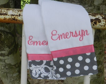 Personalized monogram girl grey and pink burp cloth set/baby sbower gift/new baby gift
