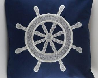 "Ship Wheel Pillow Cover, Embroidery, Nautical Pillow, Beach decor, Decorative Pillow, Accent Pillow, 18""x18"", Navy, Ready to ship"