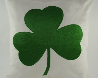 "Embroidered Decorative Pillow Cover - Shamrock - St Patricks Day - 18"" x 18"" - Natural (READY TO SHIP)"