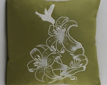 "Hummingbird Pillow Cover, Embroidery, Spring Pillow, Summer Pillow, Decorative Pillow, Accent Pillow, 18""x18"", Green, Ready to ship"