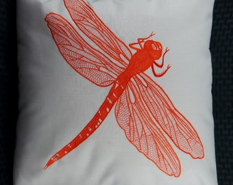 "Dragonfly Pillow Cover, Embroidery, Spring Pillow, Summer Pillow, Decorative Pillow, Accent Pillow, 18""x18"", Natural, Orange, Ready to ship"