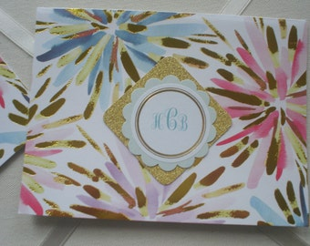 Gold Foil on White with Aqua and Pink Burst Notecards Set of Ten