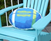 """Blue and green FOOTBALL pillow Seattle 11""""x21"""" with pocket for TV remote hawks team colors outdoor fall handpainted Crabby Chris Original"""