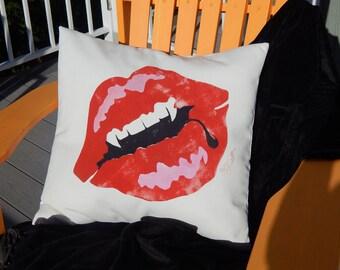 "Fangs pillow JUST MY TYPE ships tomorrow outdoor 20"" (50cm)  kiss Dracula lips painted vampire Halloween Crabby Chris Original"