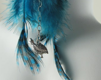 Guinea Fowl Feather Earrings in Teal