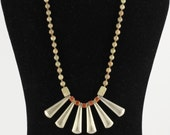 Art Deco Style Necklace with Silver and Unakite