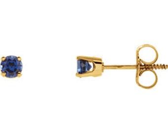 14kt Gold Birthstone Earrings September Birthstone-Chatham Blue Sapphire Studs, September Birthstone