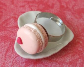 Pink macaron ring