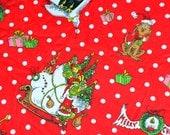 "1 Yard 35"" Pottery Barn Grinch Cozy Flannel Cotton Fabric Christmas Dr. Seuss"