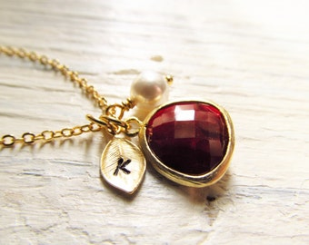 January Birthstone Necklace, Garnet Necklace, Gold Leaf Initial, Jewel, Pearl, Gold Birthstone Jewelry, January Birthday, Garnet Jewelry