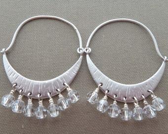 Swarovski clear crystal earrings, Swarovski crystal chandelier earrings, silver crescent moon crystal earrings, chandelier earring, handmade