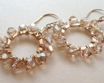 Swarovski earrings Swarovski hoop earrings Swarovski golden shadow earrings gold earrings gold wire wrapped circle earrings handmade