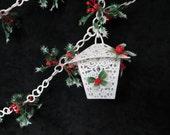 Vintage Christmas Garland with Lanterns / Yuletide Garland / Window Garland