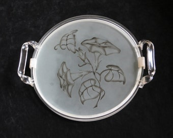 Round Lucite and Glass Serving Tray / Acrylic and Glass Vanity Tray
