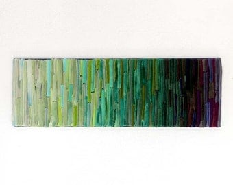 Colorful Fiber Art Wallhanging / Shades of Green and PurpleTextile Wall Art / After the Rain