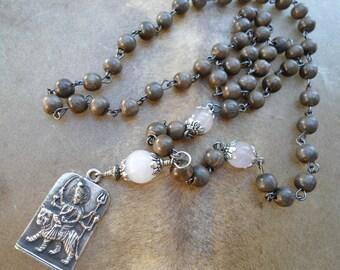Mala Beads Durga Pendant  Mala Necklace  Doula Gift  Rose Quartz  Grey Wood  Durga  Hindu Goddess Jewelry  Yoga Necklace  Goddess Necklace
