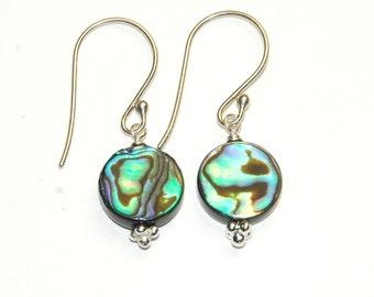 Abalone Earrings - Beach Jewelry - Shell Earrings - Simple Jewelry - Short Dangle Earrings - Green and Blue