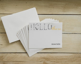 8pk-Hello There Personalized Notecards