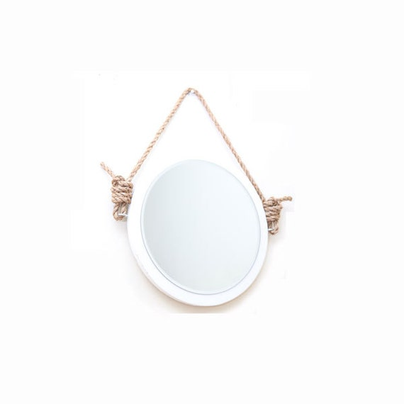 16 round rope mirror nautical boat mirror hanging for Small hanging mirror