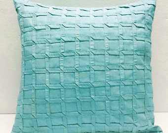 box pleated ice blue cushion decorative cushion modern pillow home decor bed pillow sofa pillow sewing pattern bedroom decor silk cushion