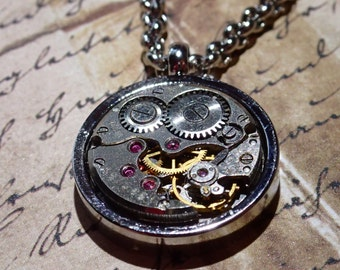 Steampunk Premium Clockwork Necklace (small Round) Gears in bezel on silver Chain gear box necklace