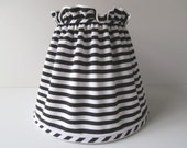 Handmade Stripe Lamp Shade, Black and White, Original Design, Black White Decor, Black Lamp, Silver Lamp, Clip-on, Table Lamp, Fabric Shade