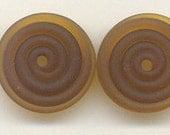 Tom's handmade lampwork Satin (etched) medium mocha brown 2 disc spacer/drop set, 1 pair  98218