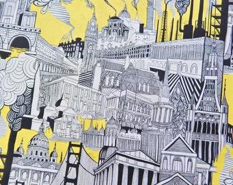 """Smoke Stack City Pattern Fabric, Cotton Fabric , 36"""" X 44"""", 1 Yard, New, Rare"""