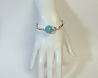 Designer Inspired Turquoise Oval  Ball Bowl Silver Curved Tube Bangle Cuff Bracelet ... Gift for Her / Statement Bracelet