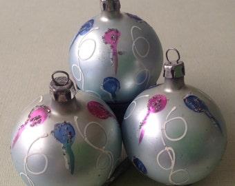 Three Glass Christmas Ornaments With Glitter-vintage Polish