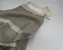 Handmade Linen Apron with Lace --- Natural / Dye Free